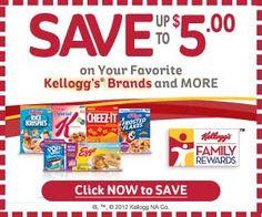 Free Kellogg's coupons, rewards and more!