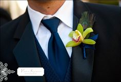 Deep blue vest and tie for my groom :)