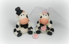 Friesian Cow bride and groom wedding cake topper | Flickr - Photo Sharing!