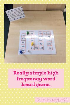 High frequency word board game. Roll the dice, move the correct number of spaces and read the word. EYFS
