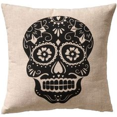 Sugar Skull [stencil the black skull on a tile and then use porcelain pen or something to create design]