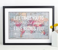Quotes About Wedding & Love: World Map Poster World Map Print Love Quote Map of the World Travel Wedding Leaving Gifts, World Map Poster, Map Posters, Just Dream, Photos Voyages, Travel Themes, World Travel Decor, World Map Decor, Travel Ideas