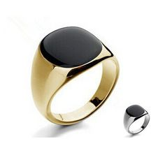 Size 7-12 Vintage Men Jewelry Stainless Steel Ring Fashion  Minimalist Design 18K Plated Gold Black Enamel Men's Rings sa779