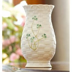 Belleek Kylemore Vase Irish Pottery Home Gift Idea Buy Online or Call Toll Free Delivered From Ireland Direct To USA, More Online Now! Belleek Vase, Belleek China, Belleek Pottery, Royal Doulton, Irish Pottery, Irish Girls, Hand Painted Plates, Irish Celtic, China Painting