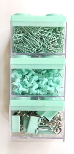 FOR SALE | MINT School Supplies, Paperclips, Push Pins Thumb Tacks Binder Clips Bulletin Board Desk Accessories Mint Blue Mint Green Mint Color Seafoam Green