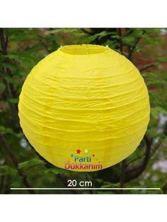 Sarı Yuvarlak Fener Süs 1 Adet (20 cm)