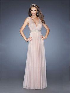 Straps V-neck Beadings Low Back A-line Chiffon Prom Dress PD11643