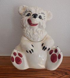 White Bear Ceramic  Vintage Cookie Jar  Gilner California Pottery  G-405 1950's