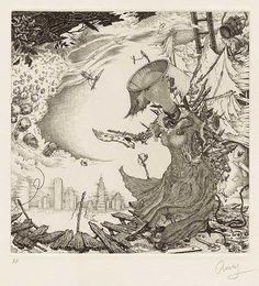 """David AveryTitle: Tempestuous Muse Date: 2010 Medium: etching Dimensions: image: 7"""" x 7"""", paper 15"""" x 13"""" Edition Size: 30, Paper: Hahnemuhle Goethe White Price: $500.00"""