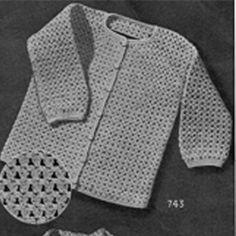 Crochet Baby Boy Cardigan Pattern No 743  -  Sleek and handsome in Nylon Yarn l  Vintage Knit Crochet Pattern Shop