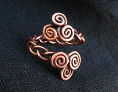 Adjustable Celtic ring, Celtic Double Triskeles Ring, antiqued copper wire wrap -  Triple Spiral -  weave - braided ring - MADE TO ORDER
