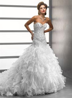 Luxury Trumpet/ Mermaid Sweetheart Crystals Beading Organza Wedding Dress With Ruffles Train