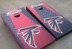 Atlanta Falcons cornhole set -- Tailgating isn't just about the food, it's about fun too! Love this.