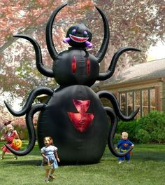 "This is the 12'-tall inflatable spider that provides frightful fun for passers-by as it moves its gruesome 30""-wide head back and forth. http://m.hammacher.com/Product/Default.aspx?sku=83832&PID=5145636&source=cj&utm_source=Affiliate&utm_medium=CPA&utm_campaign=CJ"