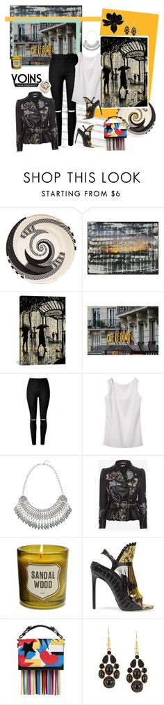 """""""Skinny Jeans with Slashed Knee"""" by carola-corana ❤ liked on Polyvore featuring NOVICA, iCanvas, Alexander McQueen, Izola, Daniele Michetti, MSGM, women's clothing, women, female and woman"""
