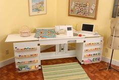 Sewing station - with lift for freearm, flatbed, storage. Converts to a compact cabinet when not used