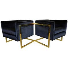 "Pair of Brass Milo Baughman "" T "" Bar Lounge Chairs 