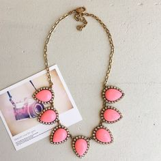 Pink necklace Pink bib necklace HWL Boutique Jewelry Necklaces