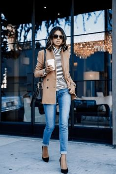 Caramel jacket, stripes and jeans are a great combination of sophistication and style. | How to Dress for a Coffee Date