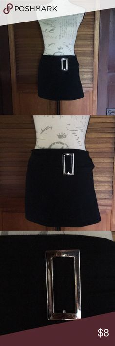 Micro Mini Skirt Good condition. Sexy mini with silver buckle & zip closure in back. Skirts Mini