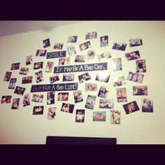 Easy homemade wall decorations ! Black cardboard and sliver sharply marker :) to make it more interesting I added a lot of pictures around it!