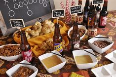 Super Bowl Party Ideas  - Pretzel Dipping Sauces and table decor  @yourhomebasedmom  #superbowl, #footballparty