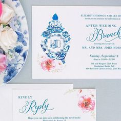 We love how classic blue and white has made its way into the wedding scene! This beautiful bride used her family's collection of chinoiserie vases for many of the florals throughout the reception. It was only fitting that the post-wedding brunch invitation feature a blue and white ginger gar customized with their wedding monogram - 💙 this!⠀ . . . 📷 | @katimallory Planning & Design | @anneclaireallen⠀ Invitations | @hobartprinting . . .⠀ #blueandwhite #blueandwhiteinvite…