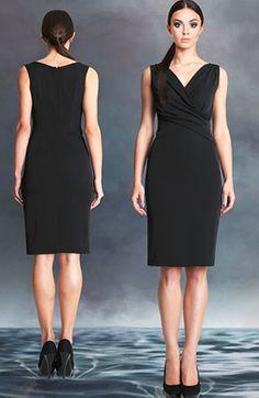 Klasyczna sukienka - mała czarna z kopertowym dekoltem mon 242 | sylwester, andrzejki, karnawał
