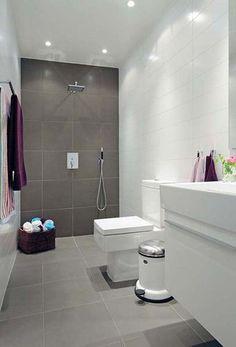 chão banheiro cinza claro e área de banho cinza escuro