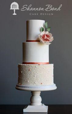 Rose Gold Wedding Cake by Shannon Bond Cake Design - http://cakesdecor.com/cakes/230194-rose-gold-wedding-cake
