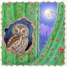 owl in saguaro cactus under the moon Elf Owl, Desert Art, Desert Ideas, Owl Moon, Owl Illustration, Watercolor Cactus, Cactus Art, Southwest Art, Wise Owl