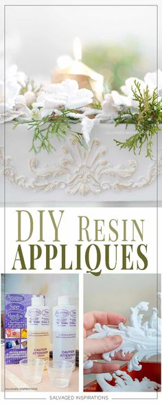 DIY Resin Furniture Appliques and Onlays - Salvaged Inspirations Diy Furniture Appliques, Wood Appliques, Diy Resin Furniture, Painted Furniture, Furniture Refinishing, Furniture Projects, Craft Stick Crafts, Resin Crafts, Diy Crafts
