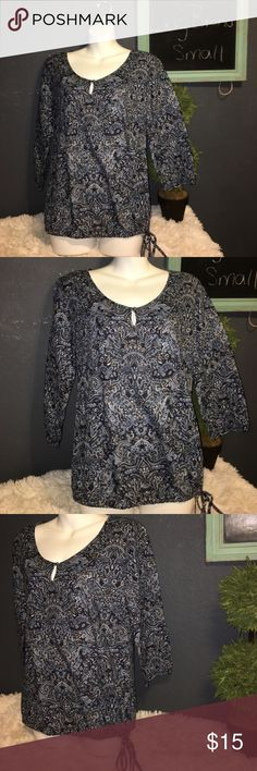 Lucky Brand 3/4 sleeve mix print Drawstring shirt Excellent condition size Small Lucky Brand Tops Blouses