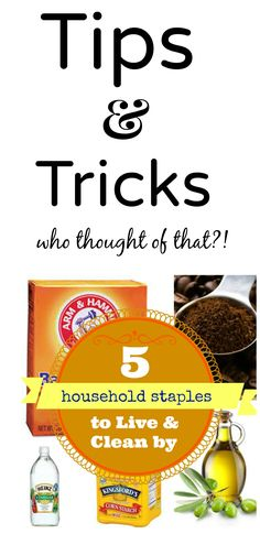 Did you know all the household uses for vinegar, coffee grinds, baking soda and… - Tips and cleaning tricks from household staples in our pantry.