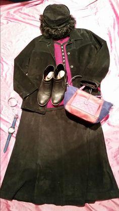 Black suede suit...pop of color.