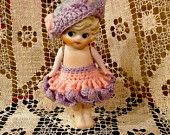 "Vintage Bisque  Doll, Porcelain Doll, Penny Doll, 6 1/2"" Tall, Side Glancing Eyes, Crocheted dress and beret, Made in Japan, 1940s"