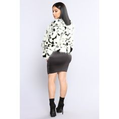 Charlotte Faux Fur Jacket Black/White ($50) ❤ liked on Polyvore featuring outerwear, jackets, black and white faux fur jacket, black and white cropped jacket, faux fur cropped jacket, cropped jackets and black and white jackets