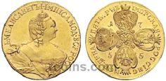 5 рублей 1755 года  Материал чеканки монеты: Золото(Au) Вес монеты: 8,27 г Редкость по каталогу Биткина: (R2) Состояние данного экземпляра: XF(ExtraFine)-Unc(Uncirculated) Стоимость монеты 5 рублей 1755 года:   62500 CHF Стоимость монеты по металлу составляет 24017 р по ценам на 26.01.2016