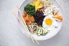 Bi Bim Bap with Tofu and Pickled Vegetables by greenkitchenstories #Bim_Bim_Bap #greenkitchenstories