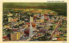 Bird's-eye View of Jackson, Mississippi, circa Jackson Mississippi, Historical Pictures, Birds Eye View, Abandoned Places, Aerial View, Vintage Postcards, City Photo, Ms, Vintage Linen