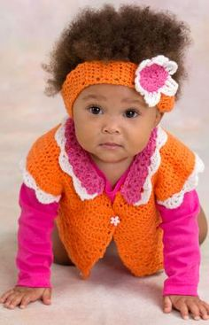 Flower Petal Sweater & Headband  Crochet a sweater as sweet as your new little miss! Then also crochet a flower headband to complete her picture-perfect outfit. You'll love how soft and cuddly this lighter weight yarn is!  Directions are for size 6 months. Changes for sizes 9, 12 and 18 months are in parentheses.   free pdf from Red Heart