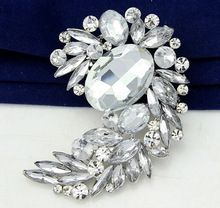 2015 Hot fashion wedding broches pin crystal rhinestone brooch silver plated brooch pin for women brooches in stock(China (Mainland))