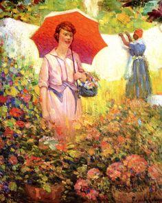Розовая дама с зонтиком в цветочном саду COBURN, Frank детали работы на Art Gallery Encyclopedia на Русском