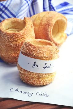 "Chimney cake. Cool! ""like mix between a doughnut and pastry"""