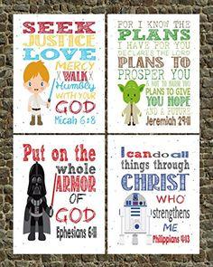 Star Wars Inspired Set of 4 - Christian Nursery Decor - Luke Skywalker, Yoda, Darth Vader, R2D2 - Bible Verse Nursery, Playroom or Kids Room Decor