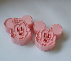 ABS Material Cookie Mold Pink Mickey And Minnie Shape Molds 2pcs/Set