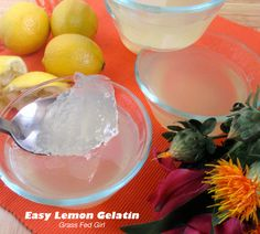 Easy Healing Lemon Grass Fed Gelatin - You can get the benefits from bone broth as well but that's not as appealing as this Lemon Jello on a hot summer day.