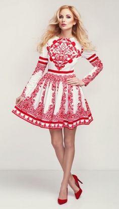 Šaty Emblém, bílé s červeným vzorem Polish Wedding, Little White Dresses, Red Pattern, Cute Dresses, Wedding Day, Bride, Wedding Dresses, Clothes, Outfits