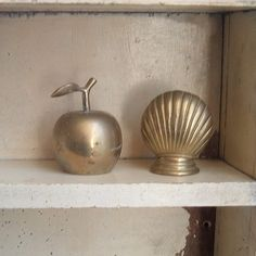 vintage brass apple bell and shell by ImSoVintage on Etsy, $10.00