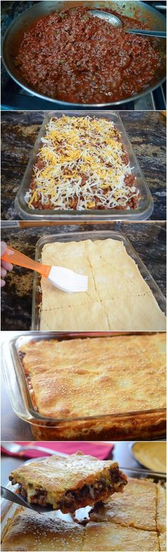 Crescent Sloppy Joe Squares...yum!   Used my own sloppy joe recipe, but otherwise made as directed...oh, used poppy seeds instead of sesame. Only made half recipe...perfect for family of 3!  Really good!  cm